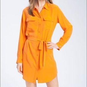 Equipment FR Orange Button Down LS Dress w/ Belt